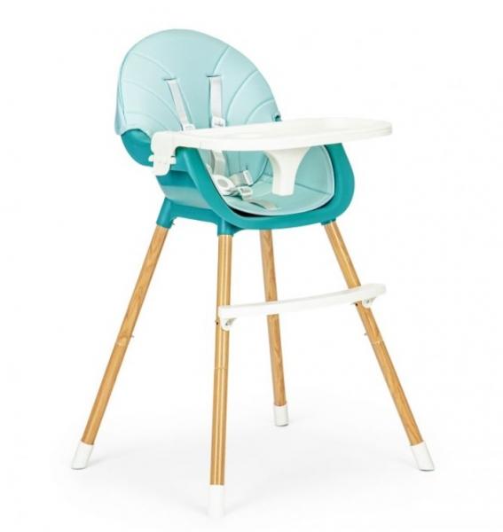 ECO TOYS Jedálenská stolička, stolček 2v1 Colby - svetlo modrá