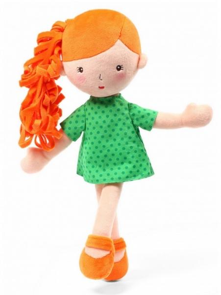 BabyOno Látková bábika Hannah - oranžová/zelená