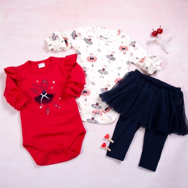 K-Baby 3 dielna sada - 2x body dlhý rukáv, legínky s tylo sukničkou - Baletka-#Velikost koj. oblečení;62 (2-3m)