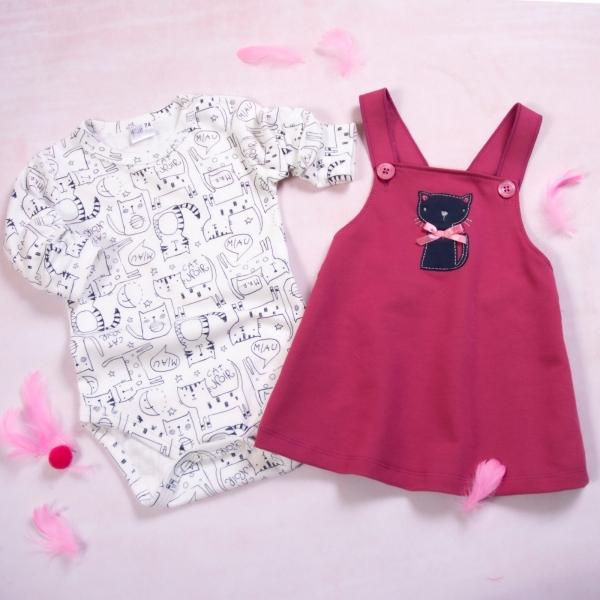 K-Baby 2-dielna súprava Body dl. rukáv a laclové šatôčky Mačička, bordová, veľ. 74-#Velikost koj. oblečení;74 (6-9m)