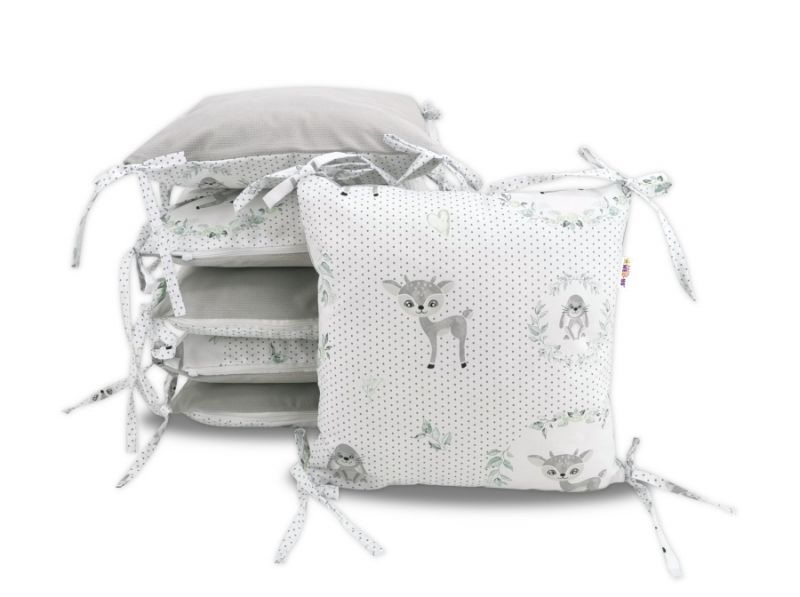 Vankúšikový mantinel Baby Nellys, Koloušek, velvet + bavlna - sivá