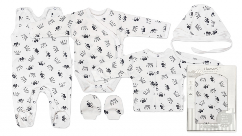 Mamatti Novorodenecká súprava do pôrodnice, biela - Princezna, veľ. 62-#Velikost koj. oblečení;62 (2-3m)