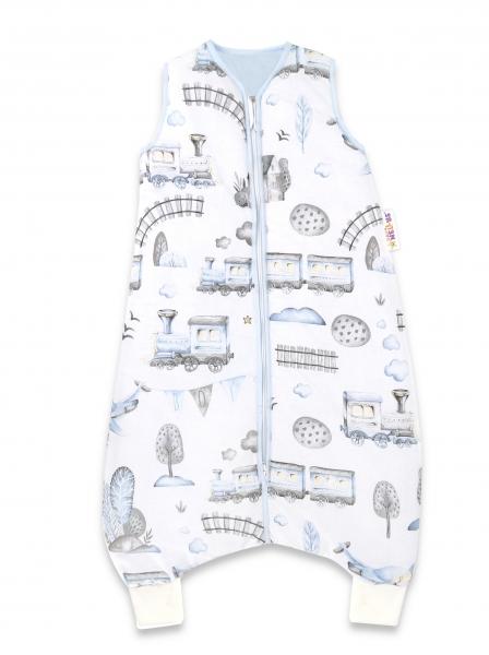 Baby Nellys, Spací vak s nohavičkami Vláčik, 90 cm - modrá