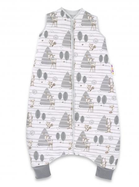 Baby Nellys, Spací vak s nohavičkami Zvieratká v lese, 90 cm - sivá