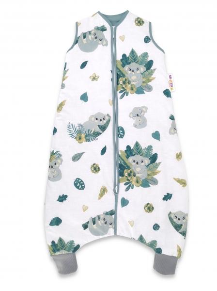 Baby Nellys, Spací vak s nohavičkami Tropical Coala, 90 cm - biela