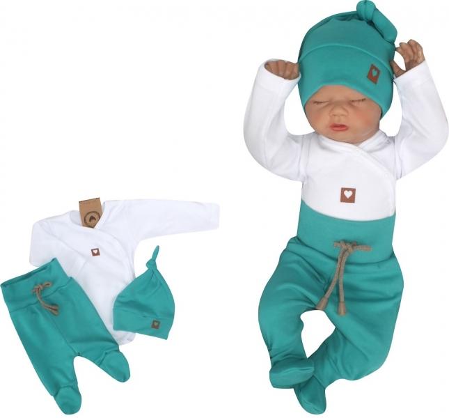 Z & Z 3-dielna súpravička body, polodupačky s povrázkom a čiapočka - zelená, biela-#Velikost koj. oblečení;50 (0-1m)