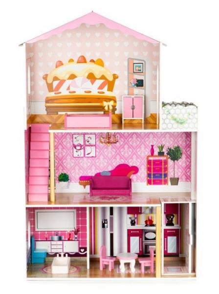 Drevený domček pre bábiky s výťahom ECO TOYS - Rezidencia torta