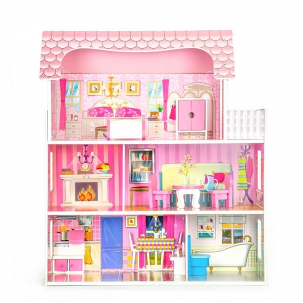 Drevený domček pre bábiky ECO TOYS - Rezidencia ruze
