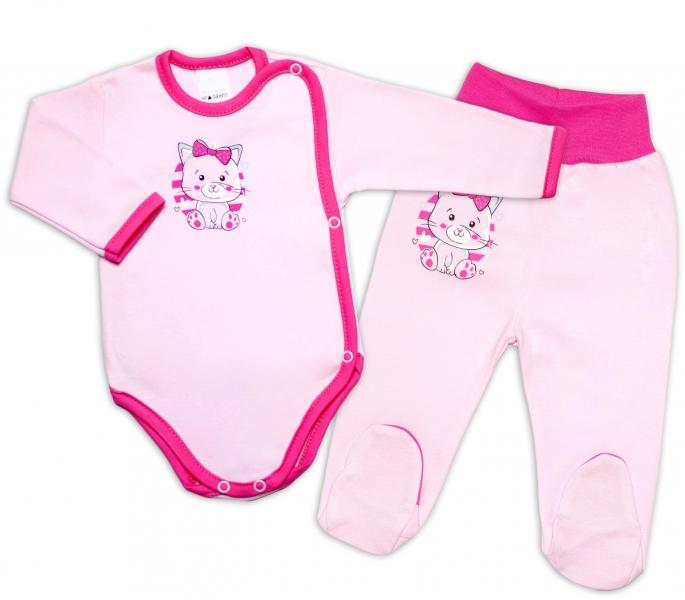 G-baby 2-dielna dojčenská sada Mačička - ružová, veľ. 62-#Velikost koj. oblečení;62 (2-3m)