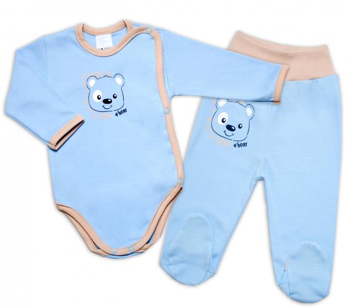 G-baby 2-dielna dojčenská sada Medvedík - modrá-#Velikost koj. oblečení;56 (1-2m)