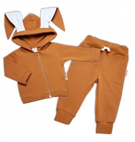 BABY NELLYS Dětská tepláková súprava s kapucňou a uškami, Cute Bunny - hnedá, veľ. 74-#Velikost koj. oblečení;74 (6-9m)