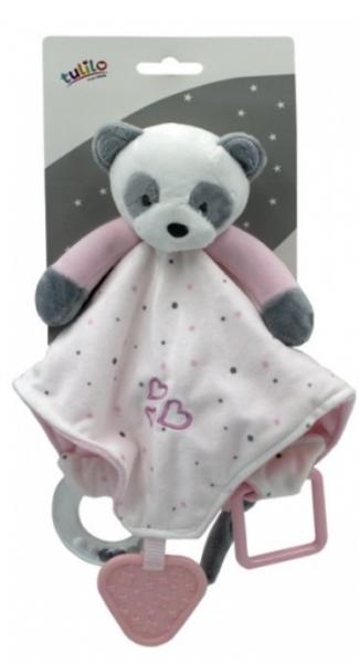 Tulilo Přítulníček, maznáčik s hrkálkou a hryzátkom Medvedík Panda, - ružový