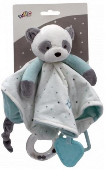 Tulilo Přítulníček, maznáčik s hrkálkou a hryzátkom Medvedík Panda, - tyrkysový