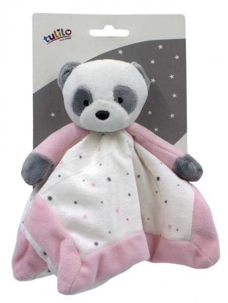 Tulilo Prítulníček, maznáčik Macko Panda - ružový, 25 x 25 cm