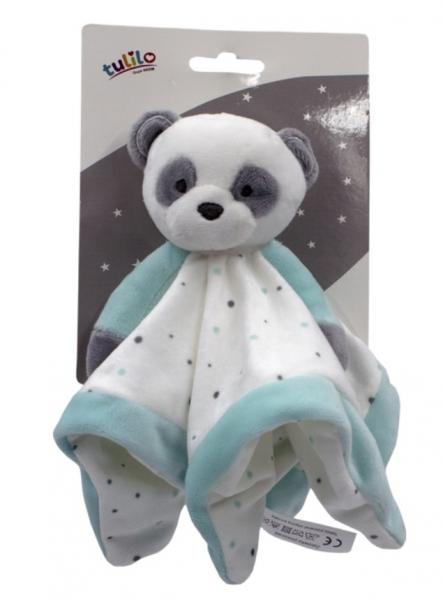 Tulilo Prítulníček, maznáčik Macko Panda - tyrkysový, 25 x 25 cm