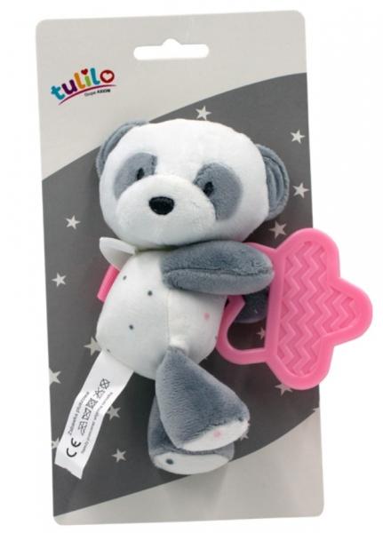 Tulilo Plyšová hračka  s hryzátkom Macko Panda, 15 cm - ružový