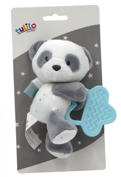 Tulilo Plyšová hračka  s hryzátkom Macko Panda, 15 cm - tyrkysový