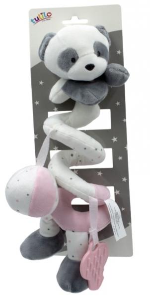 Tulilo Plyšová špirála s hrkálkou a hryzátkom Macko Panda, 25 cm - ružová