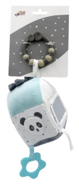 Tulilo Závesná edukačné plyšová kocka so zrkadielkom - Macko Panda, mätový