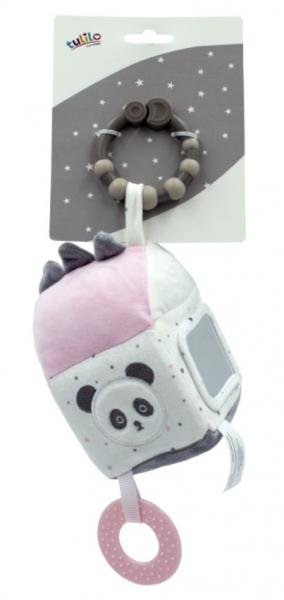 Tulilo Závesná edukačné plyšová kocka so zrkadielkom - Macko Panda, ružová
