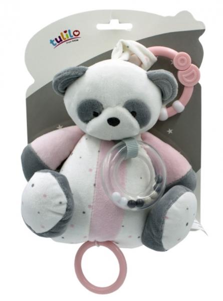 Tulilo Závesná plyšová hračka s hrkálkou Macko Panda ružový, 18 cm