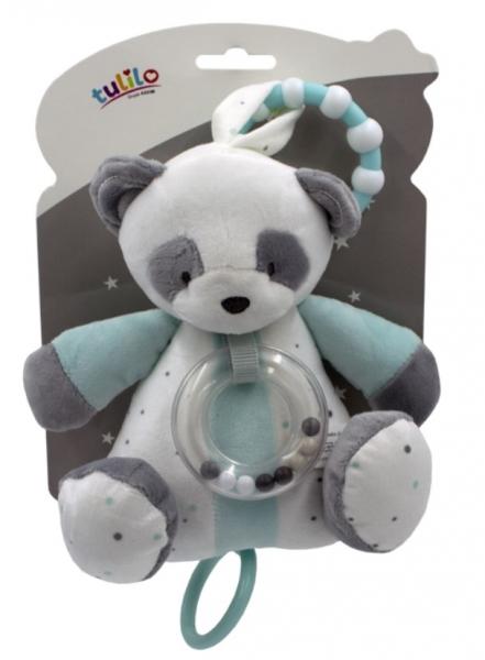 Tulilo Závesná plyšová hračka s hrkálkou Macko Panda tyrkysový, 18 cm