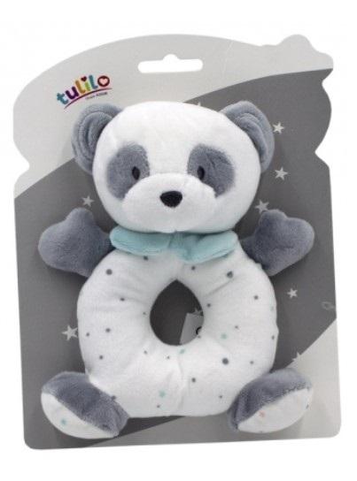 Tulilo Plyšová hračka s hrkálkou Macko Panda, 18 cm - matový