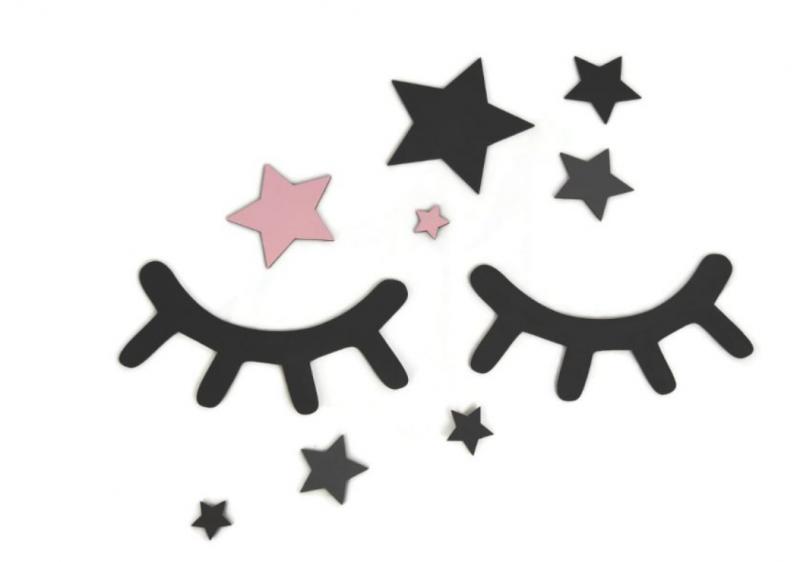 Adam Toys Dekorácie na stenu - Spiace očká s hviezdičkami, ružové