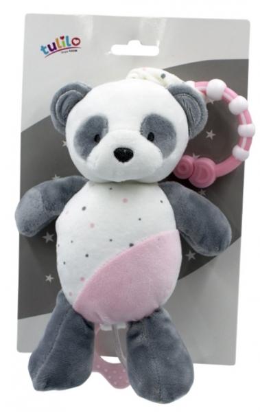 Tulilo Závesná plyšová hračka s melódiou Macko Panda, 24 cm - ružový