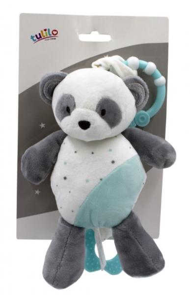 Tulilo Závesná plyšová hračka s melódiou Macko Panda, 24 cm - tyrkysový