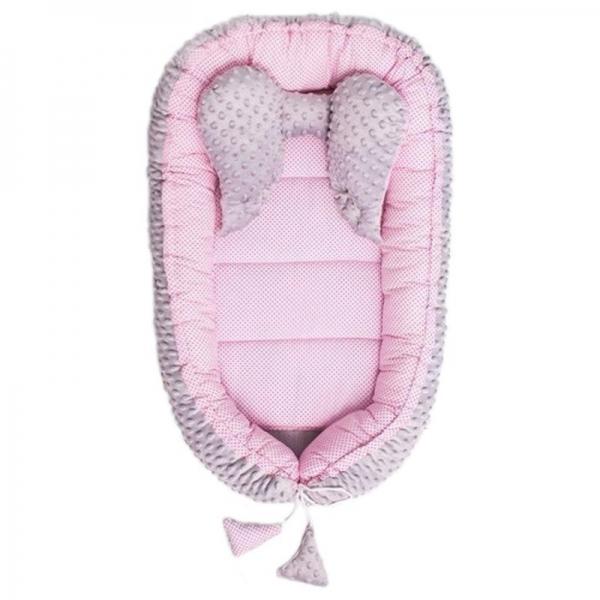 Belisima Obojstranné hniezdočko, kokon minky 55x75 cm s vankúšikom - Sweet Baby, ružový