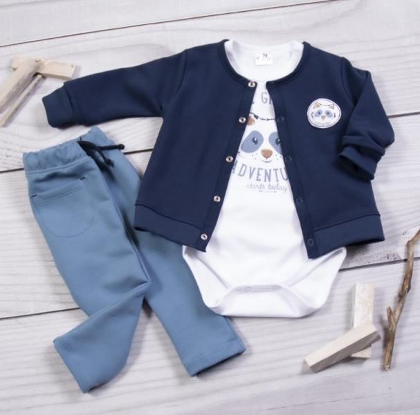 K-Baby 3-dielna sada, body kr. rukáv, kabátik, tepláčky, Mýval - granát, biela, petrolejov-#Velikost koj. oblečení;62 (2-3m)