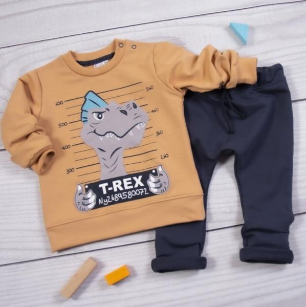 K-Baby Tepláková súprava T-Rex, hnedá, granát-#Velikost koj. oblečení;80 (9-12m)