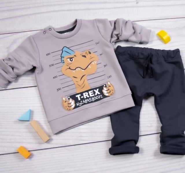 K-Baby Tepláková súprava T-Rex, sivá, granát, veľ. 98-#Velikost koj. oblečení;98 (24-36m)