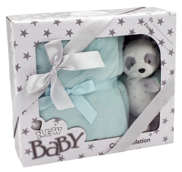 Tulilo Detská sada deka + plyšová hračka Macko Panda - tyrkysová