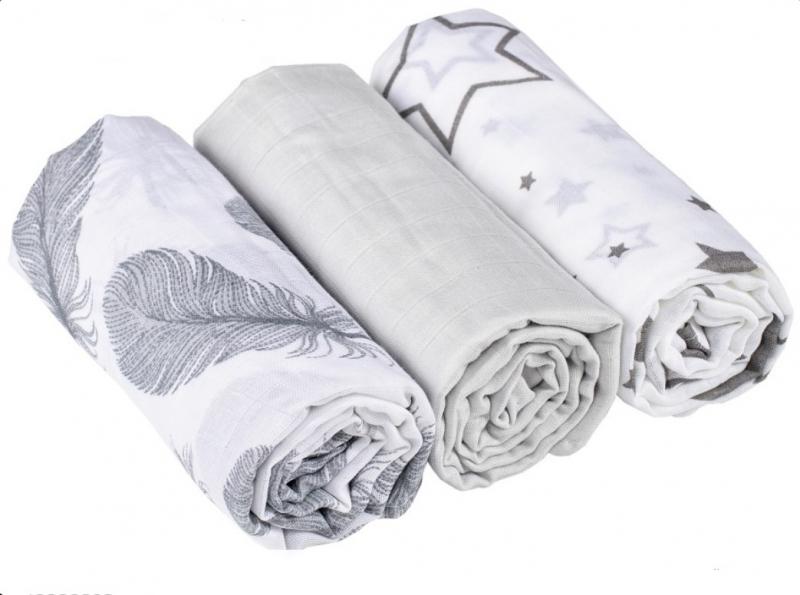 Baby Nellys mušelínové plienky 3ks Lux - Pierka, hviezdičky, 70 x 80 cm, sivá/biela