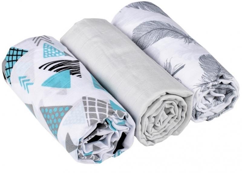 Baby Nellys mušelínové plienky 3ks Lux - Tvary, pierka, 70 x 80 cm, sivá/turkus/biela