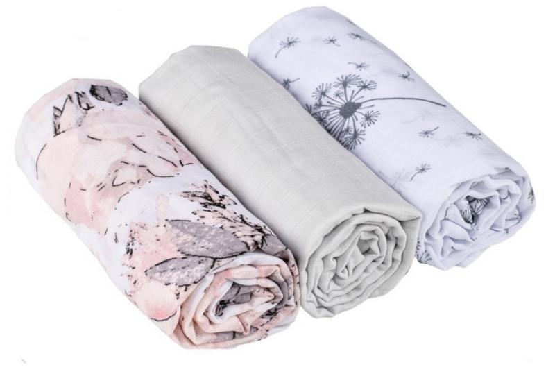 Baby Nellys mušelínové plienky 3ks Lux - Púpavy, kvety, 70 x 80 cm, sivá/ružová/biela