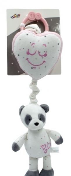 Závesná plyšová hračka s melódiou Macko Panda - ružová