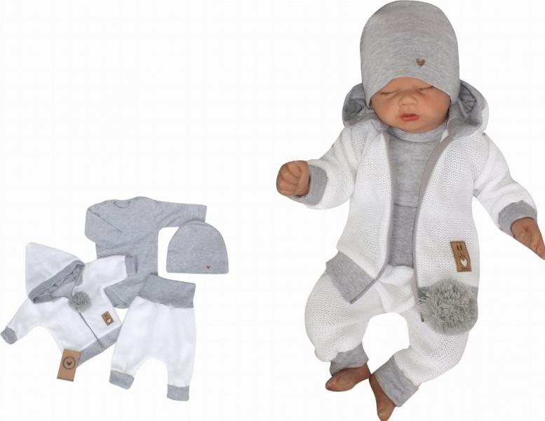 Z&Z 4-dielna pletená súpravička, kabátik, tepláčky, čiapočka a body, biela-šedá, veľ. 80-#Velikost koj. oblečení;80 (9-12m)