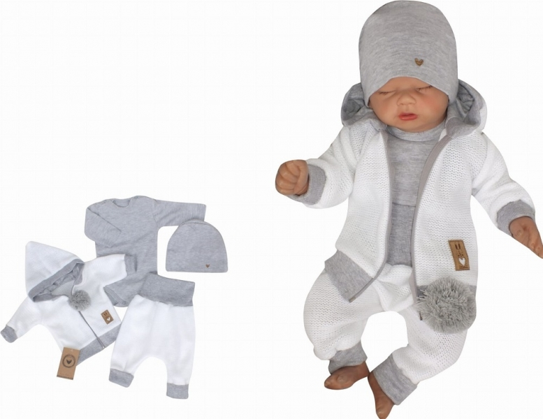 Z&Z 4-dielna pletená súpravička, kabátik, tepláčky, čiapočka a body, biela-šedá, veľ. 86