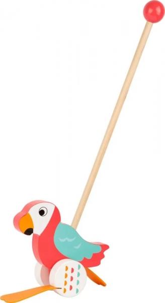 Small Foot Drevená jazdiace hračka na tyči - Papagáj