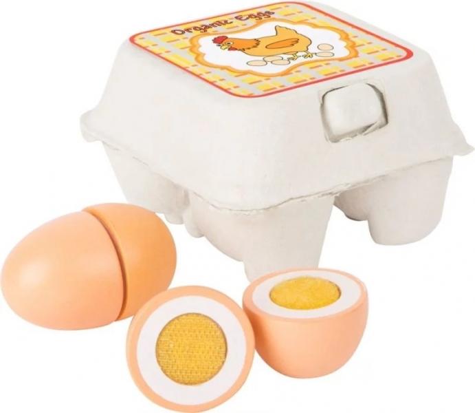Small Foot Drevená vajíčka v krabičke na suchý zips 4 ks