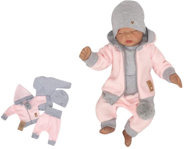 Z&Z 4-dielna pletená súpravička, kabátik, tepláčky, čiapočka a body, ružová-šedá, veľ. 62