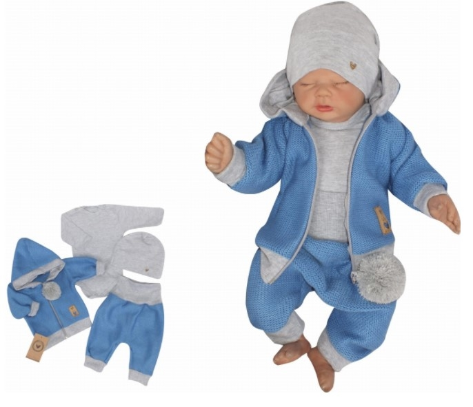 Z&Z 4-dielna pletená súpravička, kabátik, tepláčky, čiapočka a body, modrá-šedá, veľ. 74-#Velikost koj. oblečení;74 (6-9m)