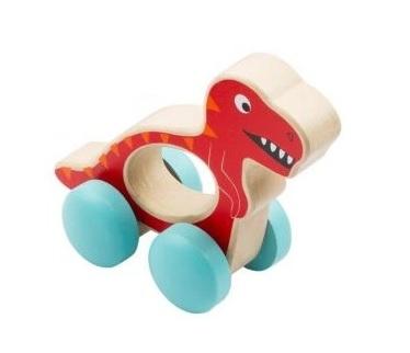 Small Foot Drevená hračka do ručičky Dinosaurus - červený