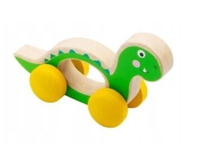 Small Foot Drevená hračka do ručičky Dinosaurus - zelený