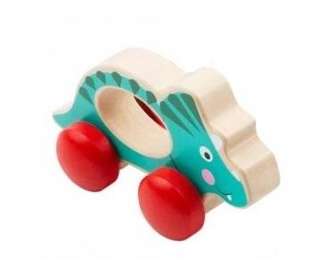 Small Foot Drevená hračka do ručičky Dinosaurus - modrý