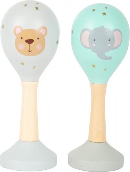 Small Foot Drevené hrkálka rumba gule, 2 ks - slon a medveď