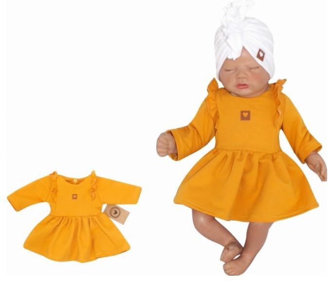 Z & Z Detské teplákové šatôčky/tunika Princess - horčicové, veľ. 74